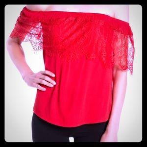 😍Sale😍 Socialite Red Lace Cold Shoulder Top